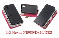 For  LG Nexus 5/E890/D820/D821 Stand Wallet Style PU Leather Case Photo Frame Phone Bag Cover With Card Holder