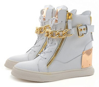 Wholesales Genuine Leather High Top Women Shoes With Metal Sheets Metal Chain With Zip Fashion Women Sneakers