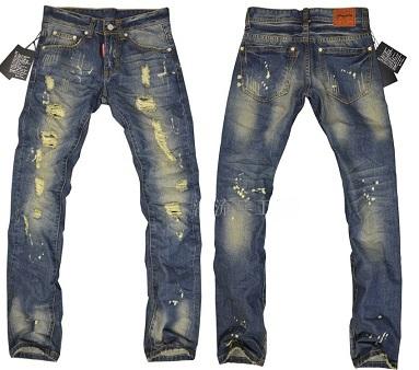 Mens DSQ famoso designer de moda marca d afligido destruído d2 Jeans Tamanho W30 - W38 quadrado rasgado bálsamo * em VENDA(China (Mainland))