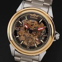 New 2014 Men's Gold Automatic Self-Wind watch Silver Steel Band Analog Wrist Watch Men Dress Watch best Christmas gift