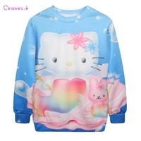 2014 Autumn New Women Hello Kitty Printed Sweatshirts,Hoodies Cardigans,Sport Sweatshirt Women,Trackshirts MD1982