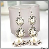 Vintage Gothic Tassel earrings Jewelry Pearl hat Long drop earrings for women Antique silver Costume pearl Jewelry