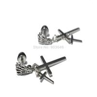 NEW 50pcs Free Shippment Cross Silver Stainless steel Ear Studs Earring Body Jewelry