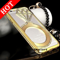 Fashion Luxury Bling Crystal Rhinestone Diamond Hollow Metal Case Cover For iPhone 6 4.7 inch High Quality
