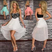 2014 Fashion Cocktail Dresses Strapless Party Dress Summer Asymmetrical Dresses Women Clothing Casual Dress Drop Ship
