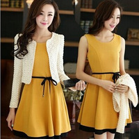 Vestidos Casual Dress Slim Lady Winter Dress with Belt Cappa Slightly Party Dresses Two Pcs Design New Year Party Dress NZH039