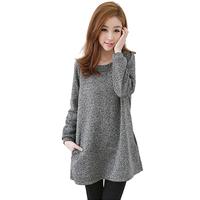 Korean Style Brief Mini Long Sleeve Autumn Dress 2014 Newest Casual Cotton Bow Plus Size Femininos Vestidos 5876