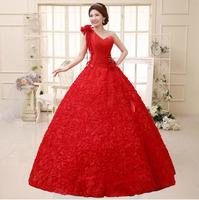 2014 New Arrival Cheap Backless Lace Up Wedding Dress One Shoulder Lace Elegant Bridal Dress HS291