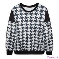 2014 Women's Black And White Plaid Sweatshirts Casual Autumn Cute Hoodies Pullover Sweatshirt Outwear MDWY13