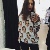 New 2014 Fashion Women and Men Pullover Hoodies sweatshirt Tracksuit Head Print S M L XL