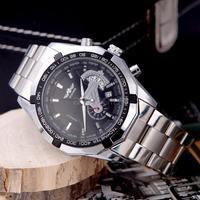 2014 New Winner Fashion Men's Automatic Mechanical Wrist Watch Date Silver Steel Band Black Watch Christmas gift