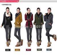 New 2014 autumn winter fashion women plus size fleece jacket outerwear female thickening casual zipper hooded coat Free Shipping