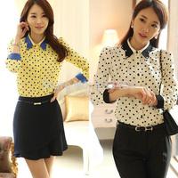 Free ShippingKorea Style Women Chiffon Lapel Polka Dots Blouse OL Slim Shirt S-XL