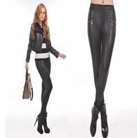 2014 New Fashion Punk style leather pants Waist double zipper black women leggings Lederhosen Tenths Pants Free Shipping