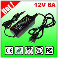Free shipping AC 110V-240 to led strip DC 12v 6a 72w led transformer power supply unit adapter 50/60 Hz