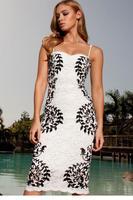 vestidos femininos vestido festa renda summer Party Cocktail Club Bodycon Print Lace Pencil Midi Dress free shipping 6758