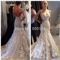 vestidos de noiva Glamorous Spaghetti Sweetheart Applique Bridal Gown Long Train Formal Backless Mermaid Wedding Dress 2014