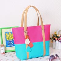2014 women's handbag patchwork color block one shoulder handbag brief fashion shopping bag women tote bag