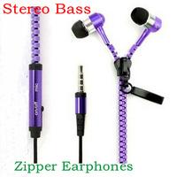 Metal Zipper Earphones Stereo Bass Earphone In Ear Headset Headphones With MIC 3.5mm Jack Standard Free Shipping MOQ:10pcs