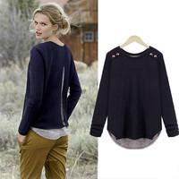 European style Autumn Women Shirt Loose Plus Size Long Sleeve Shirt Free Shipping c1324