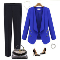 S-XXXL 2014 Plus Size Women OL Work Long Sleeve Chiffon Suit Slim Blazer Jacket Coat Outwear Ivory Black Blue