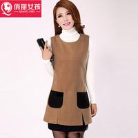 2014 new Women Korean Fashion Plaid skirt package hip Slim sleeveless vest big yards woolen dress lace dress