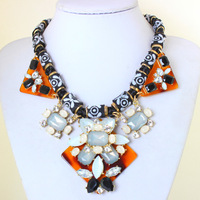 2014 Fall Vintage Design Jewelry Fashion Boho Style Lint Chain Geometrical Resin Chunky Necklace Stamente Necklaces  KK-SC712