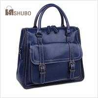 SHUBO Locomotive Bags 2014 Korean Style Women Shoulder Bag Messenger Handbag Oil Wax Cowhide Genuine Leather Tote Bolsas SH093