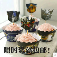12X Transformers With Inserted Card Lace Laser Cut Out Paper Forms Cup Cake Wrapper Birthday Babyshower Party