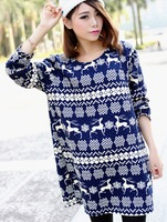O-neck Long Sleeve Blue And White Patterns Dress For Women X-Large Size Cotton Dress Female Snow And Dear Printed Vintage Dress