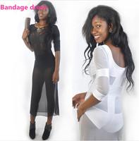 2014 New Women Dress Sexy Patchwork Bandage dress White/Black Party Dresses S M L