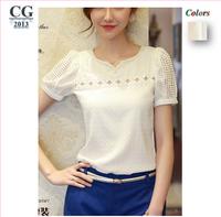2014 New Women Short-Sleeved Chiffon Shirt Slim Female Hollow Lace Pearl Beading White Sheer Blouses Shirts XXL plus size#CGS017