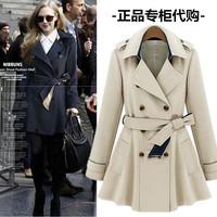 New 2014 autumn outerwear & coat women medium-long sashes trench coat slim women casual dress trench coat for women