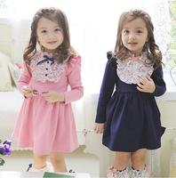 2014 new Spring autumn children's clothing wholesale kids Cotton dress girls Cute Floral  princess dress