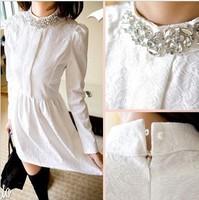Free Shipping New 2014 Fashion Women Korean Stand Collar Long Sleeve Rhinestone inlaid Slim Was Thin Lace Dress 6801
