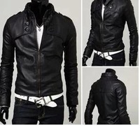 2014 autumn men's clothing slim PU motorcycle leather clothing male casual short design leather jacket outerwear male