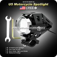 2pcs/lot 15W 3000LM USA Cree LED U5 Spot Beam 3 Mode Motorcycle MOTO Headlight Lamp Waterproof Bulb