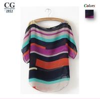2014 New Women's Tops Short Sleeve Colored Stripes Print Chiffon Sheer Blouses Shirts Blusas Femininas 3XL Plus Size#CGS018