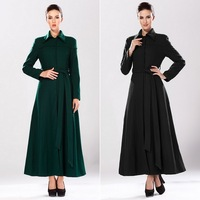 Women Stylish Cool Ankle Length Lapel Pure Color Shaped Warm Trench Coat Jacket with Belt Winter#66597