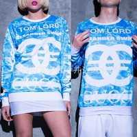 new 2014 Autumn Fashion Women hoody  men Sky blue C letter print full sleeve sweatshirt hoodies