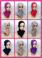 mu615 big size 4 pieces crossover islamic underscarf solid color 100% mercerized cotton muslim hijab scarf ninja inner cap