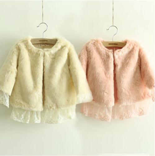 Retail hot sale winter baby girl coat pink beige long sleeve lace cotton thick coat kids girls coat children coats(China (Mainland))