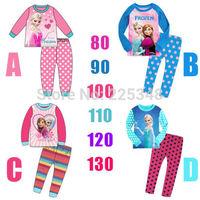 2014 new Frozen Anna&Elsa Snow HOT Queen Girls Toddler Pajamas Pyjamas Set Sleepwear Set FREE SHIPPING