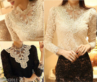 Sexy Ladies Long Sleeve Lace Floral Womens Tops Shirt Blouse Size 6 8 10 12 14
