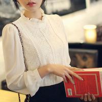 2014 new HOT! White/Black Women Lace Long Sleeve Chiffon Blouses Tops Gorgeous Shirts lace embroidery Shirt free shipping