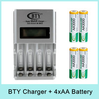 BTY 4*1.2V 3000mAh AA Rechargeable Ni-MH Battery Pack + N903 Universal Super Quick Charger US EU Plug Special Offer