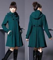 Hot Sale 2014 Autumn and Winter Coat Wool Double-Breasted Outerwear Wool Jacket Women Medium-Long Wool Coat Plus Size XXXXL