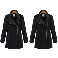 Stylish Women Oversized Split Diagonal Zipper Preppy Style Warm Woollen Collar Jacket Coat  #66138