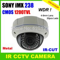 CMOS 1200TVL SONY IMX238 Super WDR with IR-CUT OSD Menu 4-9MM Lens Vandalproof Outdoor Dome Security CCTV Camera