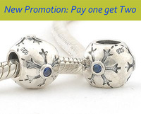 Wholesale Snow Flake 925 Sterling Silver Spacer Charm Bead with Blue Crystal Jewelry, Fit for Pandora Bracelet XS045